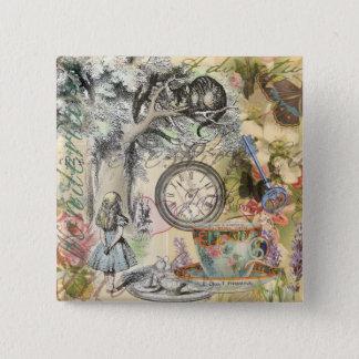 Cheshire Cat Alice in Wonderland 15 Cm Square Badge