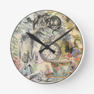 Cheshire Cat Alice in Wonderland Round Clock