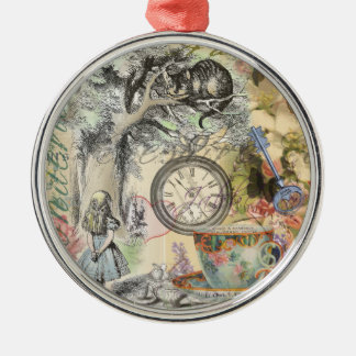 Cheshire Cat Alice in Wonderland Silver-Colored Round Decoration