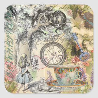 Cheshire Cat Alice in Wonderland Square Sticker