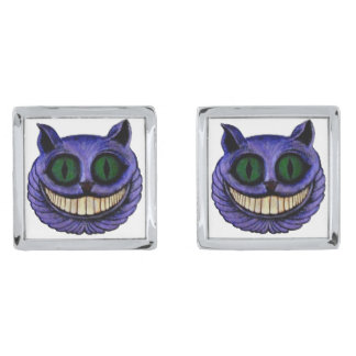 CHESHIRE CAT HEAD (Alice in Wonderland) ~ Silver Finish Cufflinks