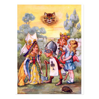 CHESHIRE CAT IN THE QUEEN'S GARDEN POSTCARD