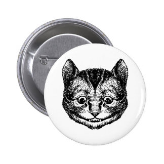 Cheshire Cat Inked Black 6 Cm Round Badge