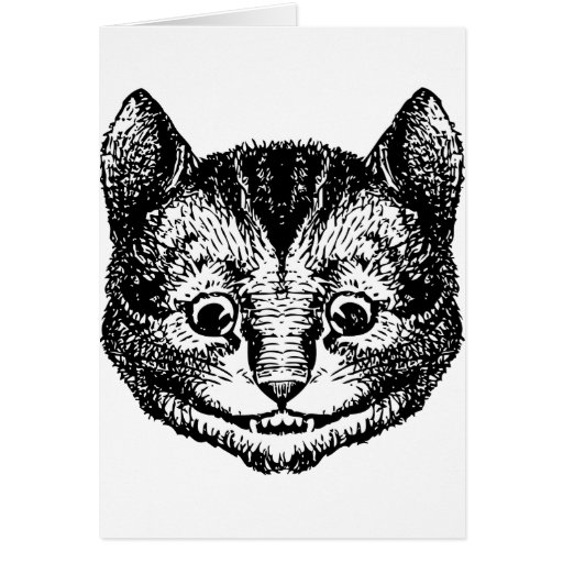 Cheshire Cat Inked Black Greeting Cards