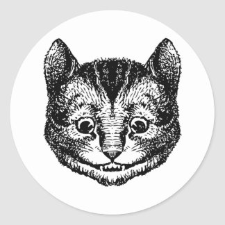 Cheshire Cat Inked Black Classic Round Sticker