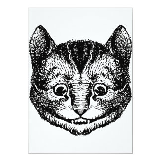 Cheshire Cat Inked Black 13 Cm X 18 Cm Invitation Card
