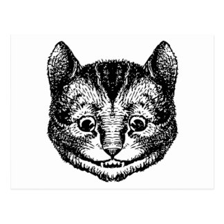 Cheshire Cat Inked Black Postcard