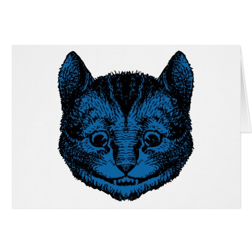 Cheshire Cat Inked Blue Fill Greeting Card