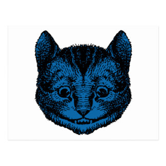 Cheshire Cat Inked Blue Fill Postcard