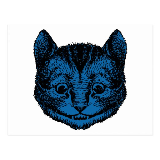 Cheshire Cat Inked Blue Fill Post Card