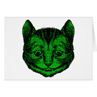 Cheshire Cat Inked Green Fill Greeting Card