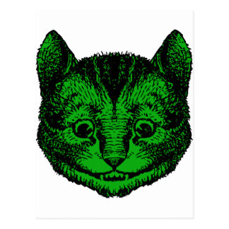 Cheshire Cat Inked Green Fill Postcard