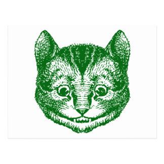 Cheshire Cat Inked Green Postcard