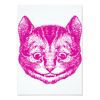 Cheshire Cat Inked Pink 13 Cm X 18 Cm Invitation Card