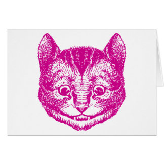 Cheshire Cat Inked Pink Greeting Card