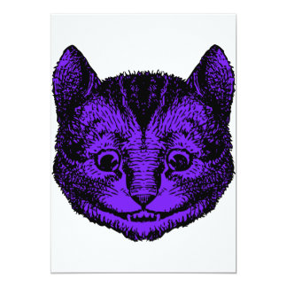Cheshire Cat Inked Purple Fill 13 Cm X 18 Cm Invitation Card