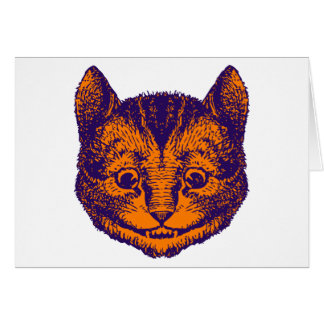 Cheshire Cat Inked Purple Orange Greeting Card