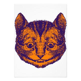 Cheshire Cat Inked Purple Orange Personalized Invite