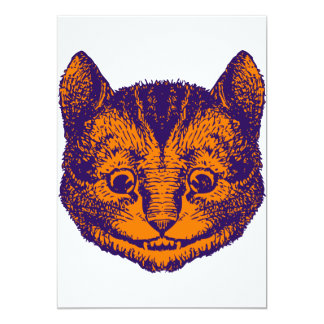 Cheshire Cat Inked Purple Orange 13 Cm X 18 Cm Invitation Card