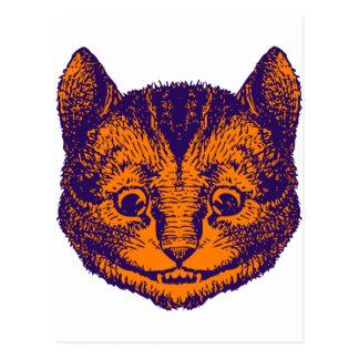 Cheshire Cat Inked Purple Orange Postcard