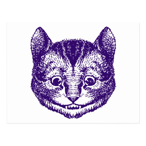 Cheshire Cat Inked Purple Postcards