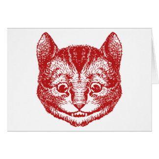 Cheshire Cat Inked Red Greeting Cards