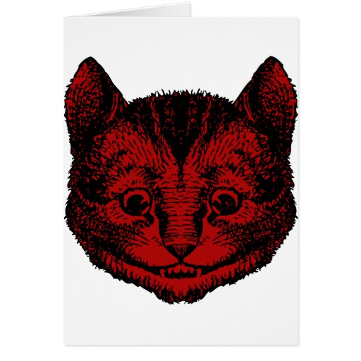 Cheshire Cat Inked Red Fill Greeting Card