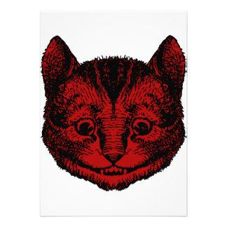 Cheshire Cat Inked Red Fill Custom Invite
