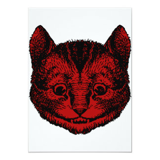 """Cheshire Cat Inked Red Fill 5"""" X 7"""" Invitation Card"""