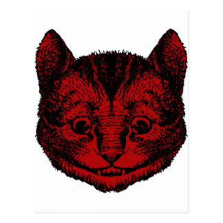 Cheshire Cat Inked Red Fill Postcard