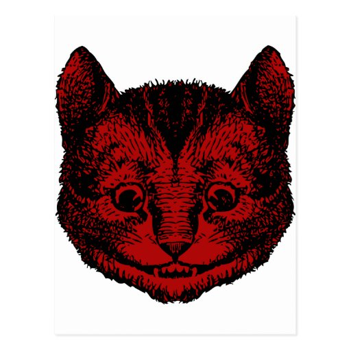 Cheshire Cat Inked Red Fill Post Cards