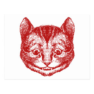 Cheshire Cat Inked Red Postcard