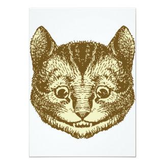 Cheshire Cat Inked Sepia 13 Cm X 18 Cm Invitation Card