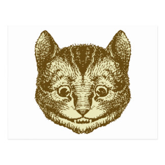 Cheshire Cat Inked Sepia Postcard