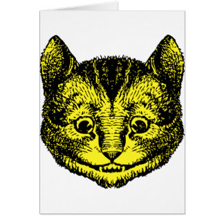 Cheshire Cat Inked Yellow Fill Greeting Cards