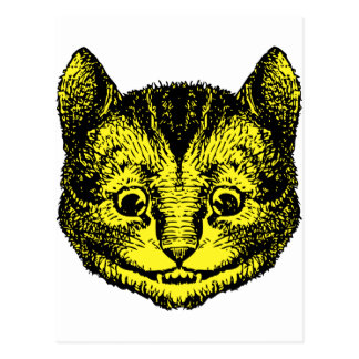 Cheshire Cat Inked Yellow Fill Postcard