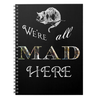 Cheshire Cat Mad Alice Black Spiral Notebook