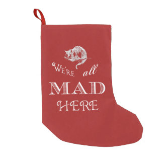 Cheshire Cat Mad Red Christmas Stocking