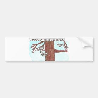 Cheshire cat meets Cheshire dog. Bumper Sticker