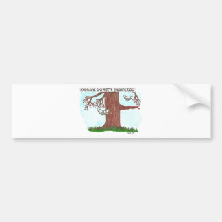 Cheshire cat meets Cheshire dog Bumper Stickers