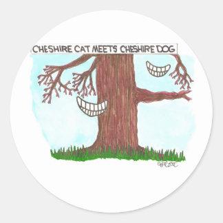 Cheshire cat meets Cheshire dog. Stickers