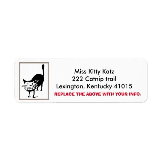 Cheshire Cat Return Address labels, Personalise Return Address Label