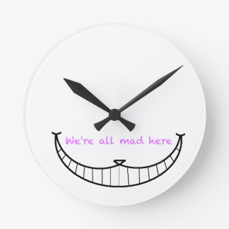 Cheshire Cat Smile Round Clock