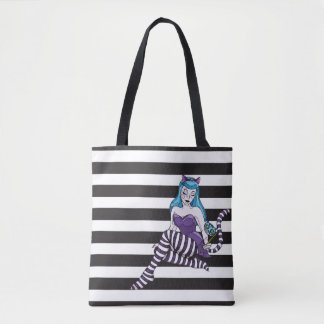 Cheshire Cat stripes reusable tote black stripe