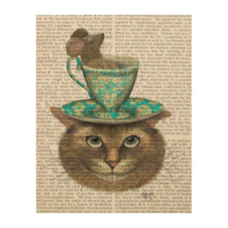 Cheshire Cat with Cup on Head Wood Wall Art