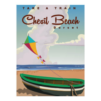 Chesil Beach Dorset Vintage Cartoon poster. Poster