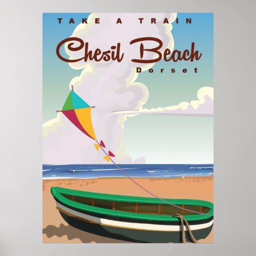 Chesil Beach Dorset Vintage Cartoon poster. Poster