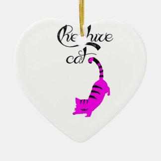 Chesire Cat Ceramic Heart Decoration