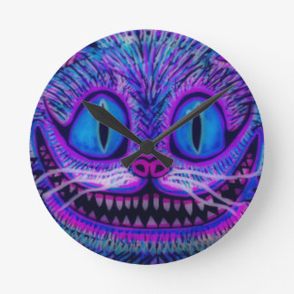 """CHESIRE CAT CLOCK"" by CUSTOM CHAOS! Round Clock"