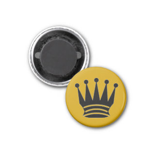 """Chess 1-1/4"""" Fridge Magnet ~ Queen (Gold)"""